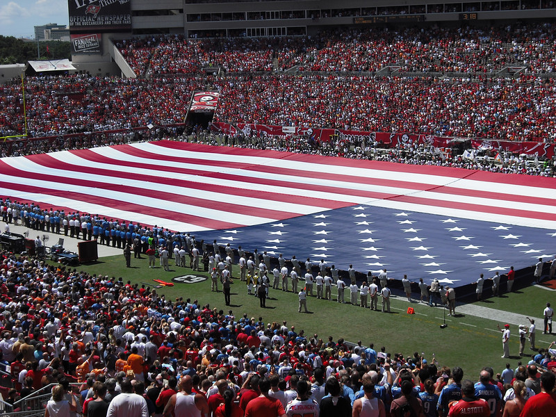 September 11--At a Tampa Buccaneers football game with friends Kay and George--part of September 11 remembrance