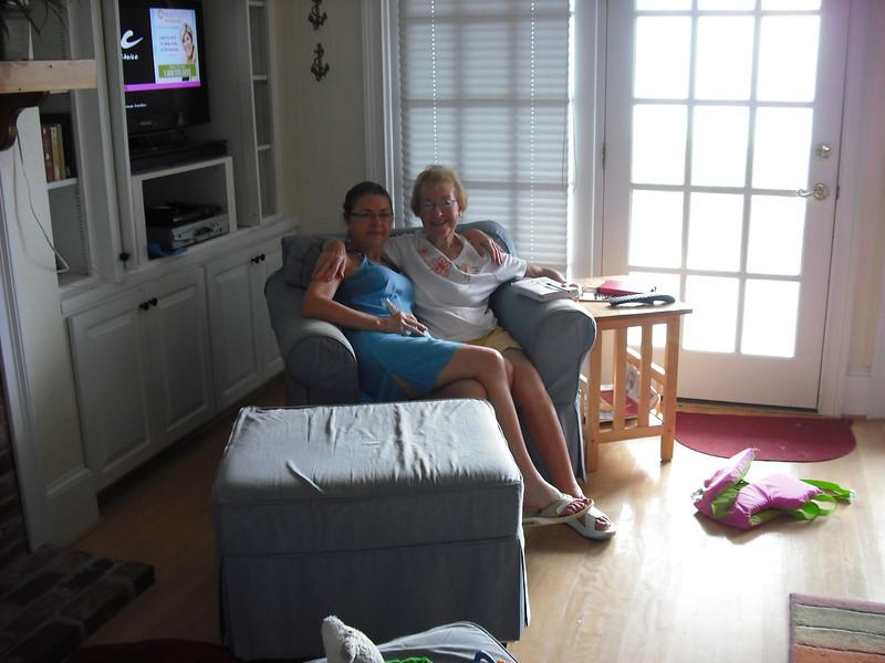 Marilyn and Phyllis enjoying a big chair