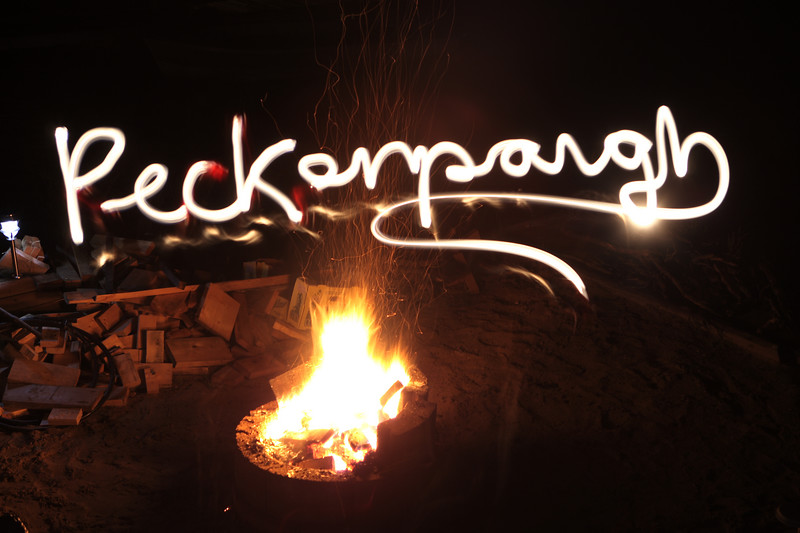 A longer exposure of the camp fire, while Shanin writes in the air with a flashlight.