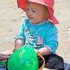 Eve enjoying the beach at Looe