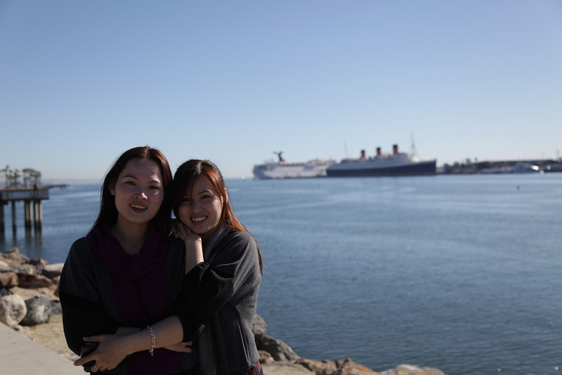Tu and Ut at long beach harbor.  Behind is the Carnival Inspiration and the Queen Mary ships