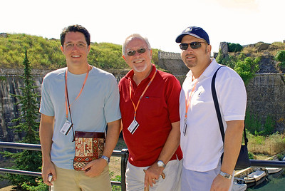 Brett, Bill, and Wes on bridge over moat of Corfu's Old Fort
