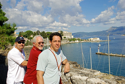 Wes, Bill, and Brett at Corfu's Old Fort with Ionian Sea in background