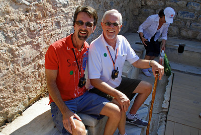 Jerry and Bill sitting on public toilets in ancient Ephesus
