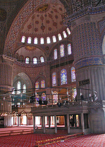 The Blue Mosque - Interior View Showing Huge Columns and Domed Ceiling