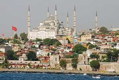The Blue Mosque as ship heads to Istanbul dock