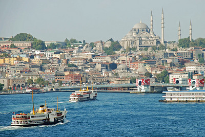 Istanbul's boat traffic on the Golden Horn