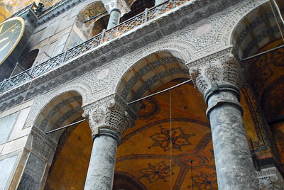 Columns around the Nave of Haghia Sophia in Istanbul