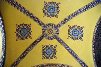 Ceiling of the upper gallery of Haghia Sophia in Istanbul