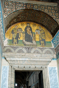 Mosaic on the Tympanium over the Narthex Door (dates from end of 10th century)