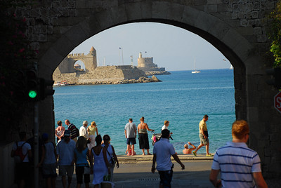 Freedom Gate and Fort of St. Nicholas seen through the Gate of the Virgin (Rhodes)