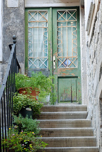 Art shot of residential entrance in walled city of Trogir