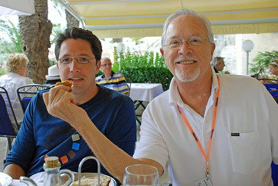 Brett and Bill - Lunch at outdoor cafe in Trogir, Croatia