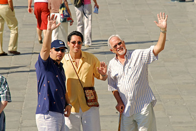 Wes, Brett, and Bill walking toward's St. Mark's Square