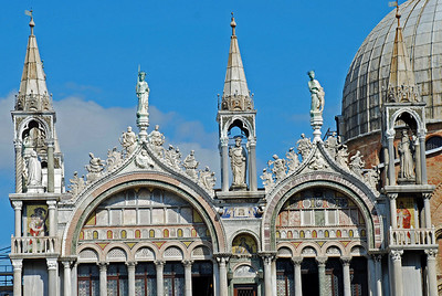 Basilica San Marco's upper left arches and temples