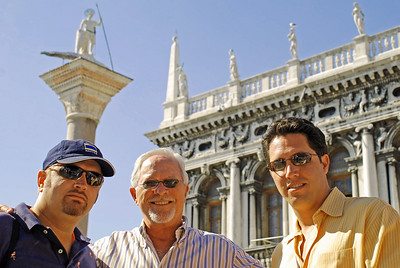 Wes, Bill, and Brett in front of San Marco column and Libreria Sansoviniana
