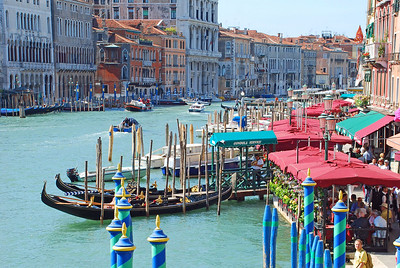 Gondolas Ready of Hire on the Grand Canal