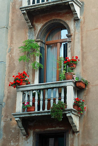 Apartment Balcony with Flowers in Venice