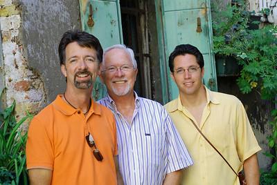 Jerry, Bill, and Brett in small courtyard at Palazzo Contarini del Bovolo