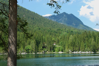 Forest and mountains surround Lake Hintersee