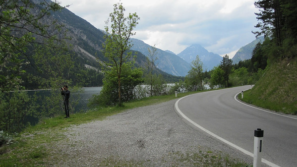 Plansee and the Austrian Alps; Jerry looking for just the right shot.