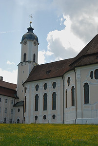 Wieskirche is located in a beautiful meadow and is a UNESCO World Heritage Site