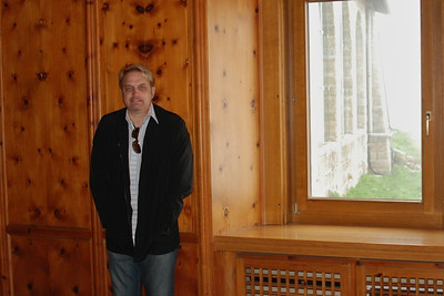 Wes in Eva Braun room at Kehlsteinhaus - totally covered with panels of nobel stone pine