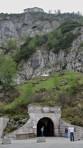 Kehlsteinhaus - tunnel entrance leads to brass lined elevator directly into the building - 124m above the entraince