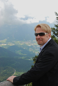 Afraid of heights, Wes holds onto the hand rail at Kehlsteinhaus