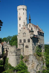 Burg Lichtenstein perched on rockie mountain top. Dates from 17th to 18th century.  Built for the Dukes of Lichtenstein