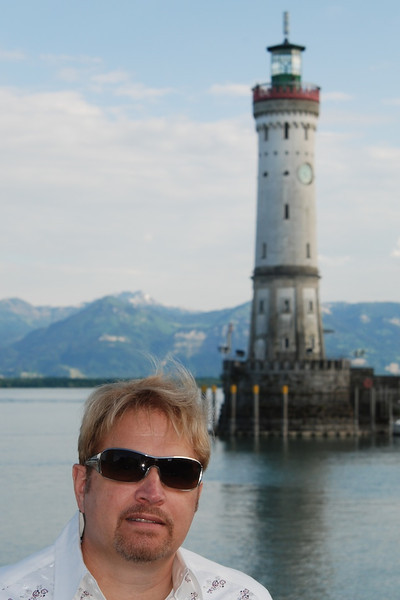 Wes at Bodensee; port of Lindau Island light house in background.