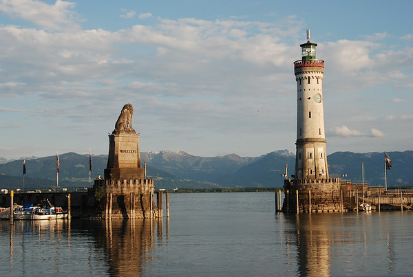 Entrance to the Lindau port with light house and Bavarian lion guarding the inlet.