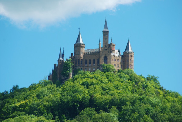 Classic view of Burg Hohenzollern.  Mostly a show castle, only royalty to live there was Prussian Crown Prince William in the closing months of WWII.