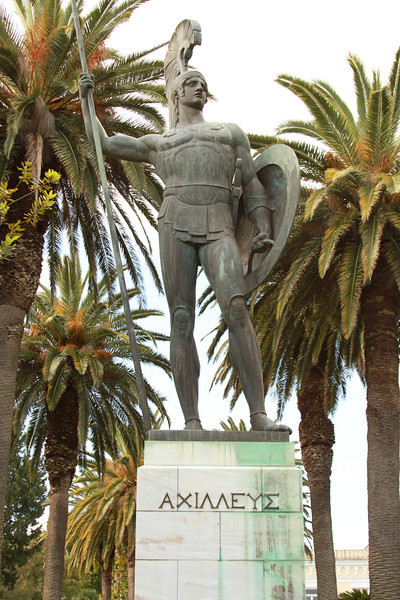 Statue of Achilles in the Achilleion Palace gardens.