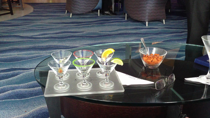 This was our 1st visit to the Martini Bar on the ship. Roe is trying a 'pink' Martini.