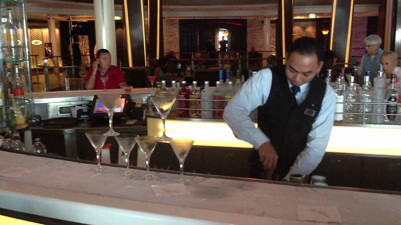 Back at the Martini Bar and watched him make another Martini Sampler. I think he has done this a few times. This the 1st of 2 videos.