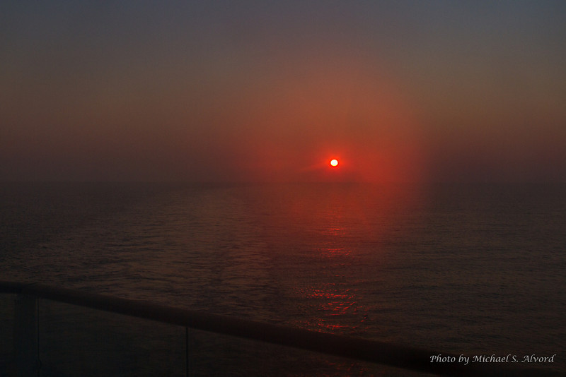 I couldn't sleep so for those of you that don't think I know what a sunrise is, here is one on the Med.