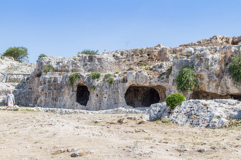 Some of the original caves at the amphitheater. These were owned by wealthy families and used to keep cool during breaks in the plays.