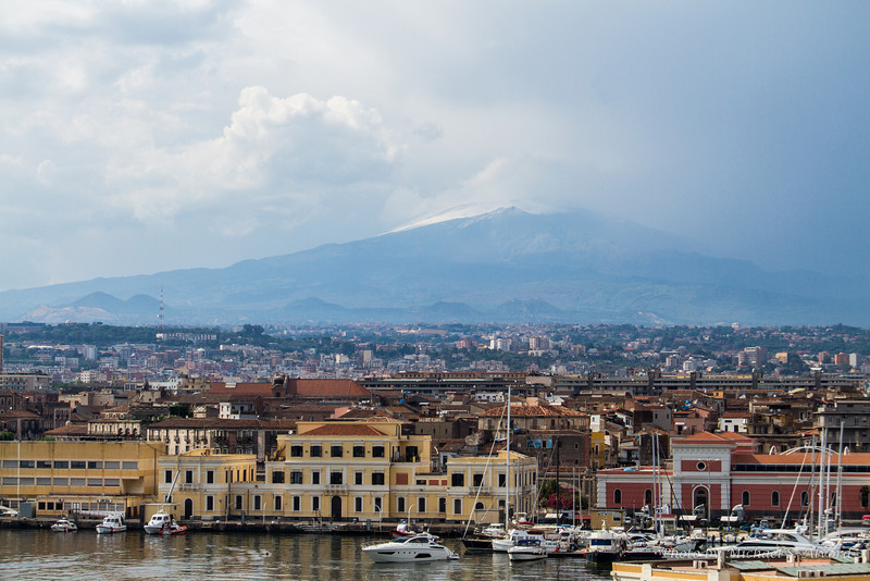 This is the view back at our ship of Mt Etna which is Europe's largest active volcano.