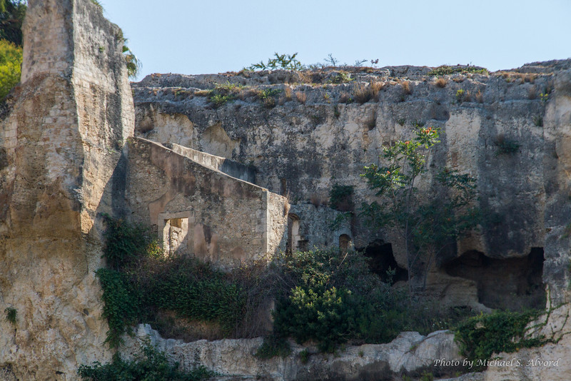 The roof of the caves was where you see the top of the wall.