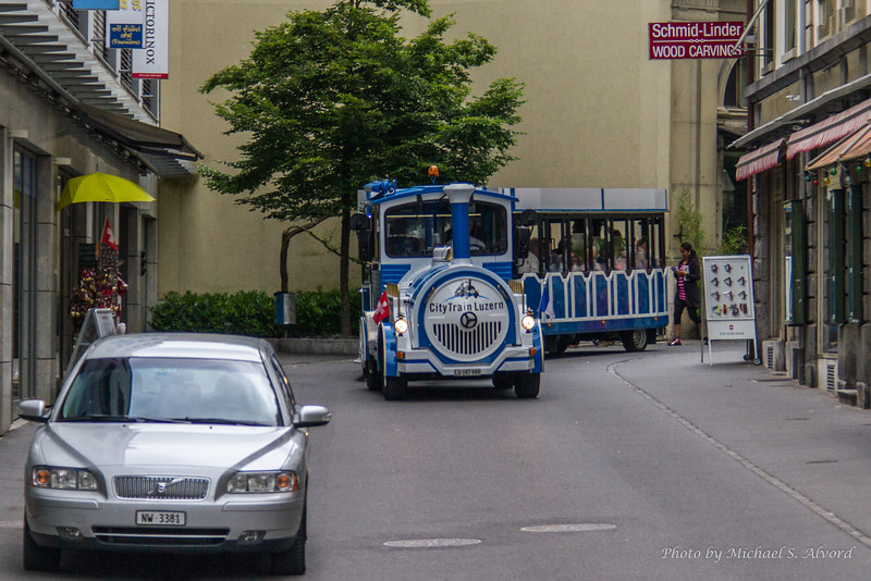 We stopped in the city of Luzern at the base of Mt. Pilatus and this is the local transportation through the city.