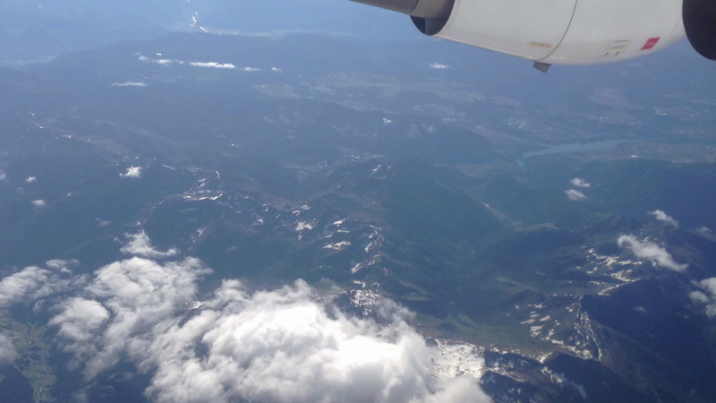 Here we are flying over the Alps.