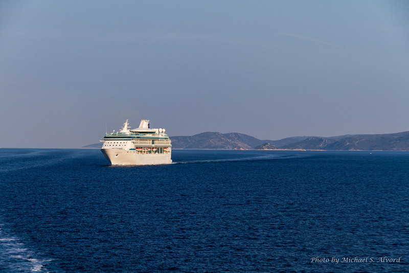When we were arriving in port, this cruise ship was coming in right behind us.