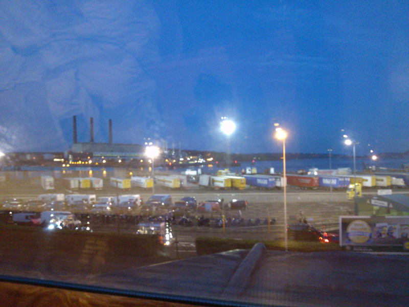 View from our hotel the night before the ferry. All the motorcycles were heading to the Isle of Man.