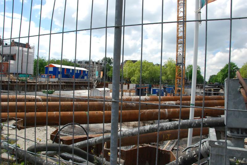 New tram station under construction.