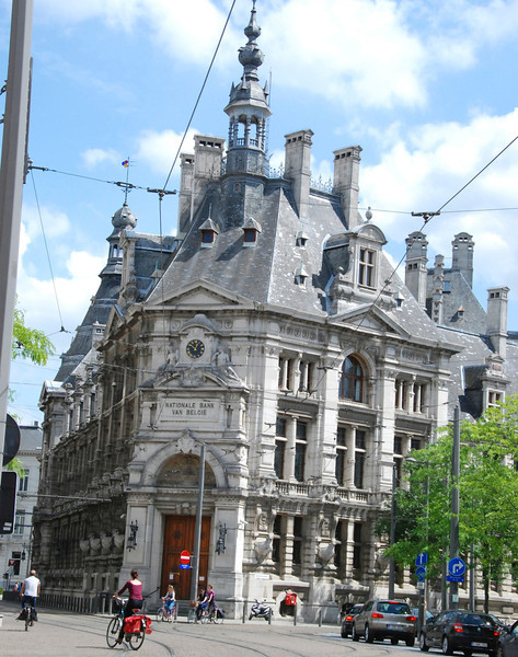 National Bank of Belgium. When we first came upon this bank, there were six police officers with machine guns standing outside! We figured out that they must have been guarding a delivery of cash, gold or diamonds.