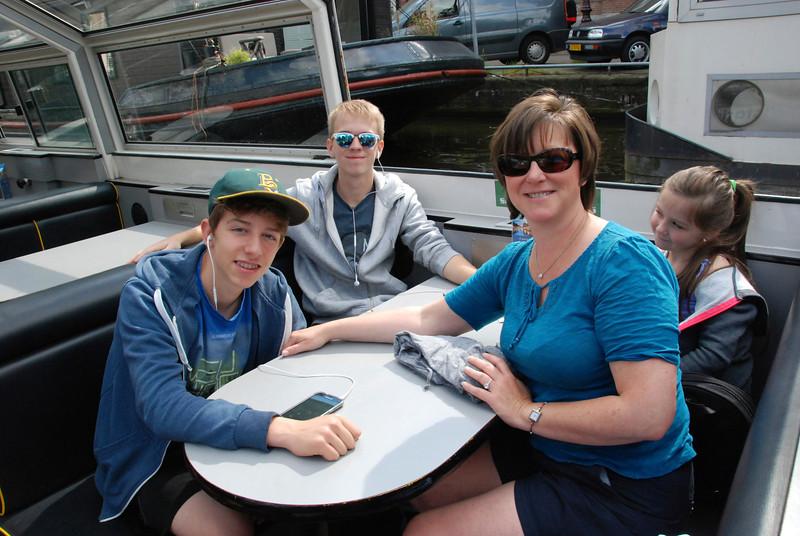 Joshua, Jeremy, Emma and Becky on the boat.