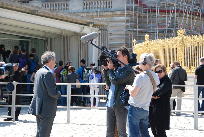 News crew doing an interview.