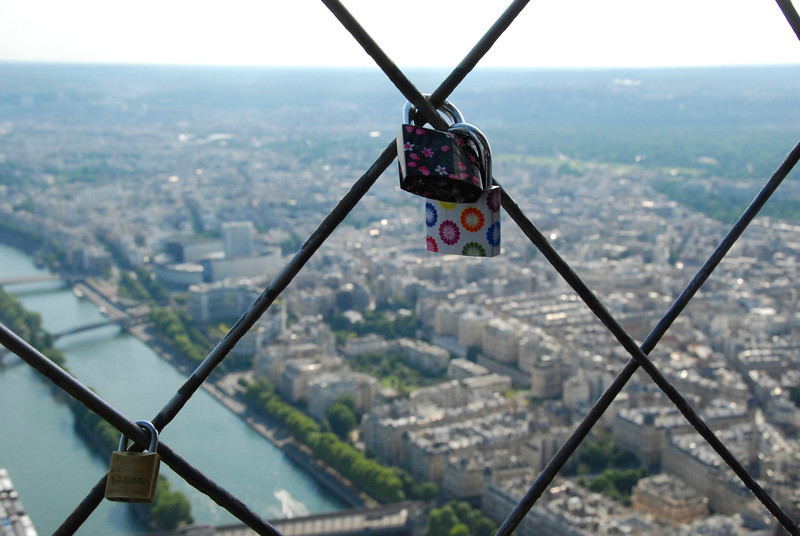 Couples hang locks as a sign of their love.