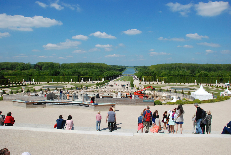 View from the back of the palace. The main fountain is being renovated.